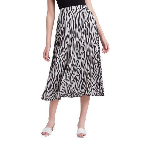 Our Heritage Pleated Midi Skirt SLIVER BLACK ZEBRA STRIPE S