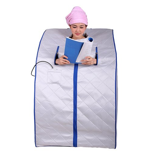 ALEKO PIN11SB Personal Folding Portable Home Infrared Sauna with Folding Chair and Foot Pad, Silver with Blue Trim Color