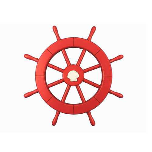 Handcrafted Nautical Decor Ship 18'' Decorative Ship Wheel with Seashell Wall D cor
