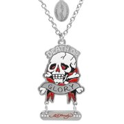 Men's Ed Hardy Death or Glory Skull and Cross Bones Necklace on a 24 inch Chain