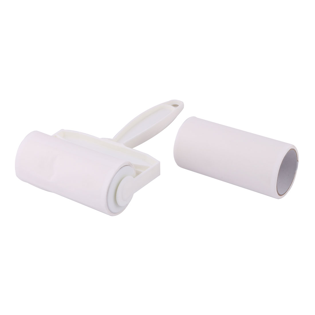 Unique Bargains Manual Clothes Dust Clean Remover Roll Plastic Sticky Roller White