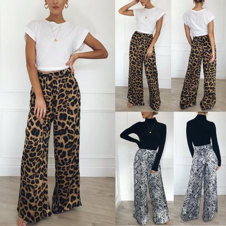 Fashion Autumn Leopard Printed Wide Leg Pants Women High Waist Loose Palazzo Snakeshin Pants Elegant Office Ladies Trousers High Waist Wide Leg