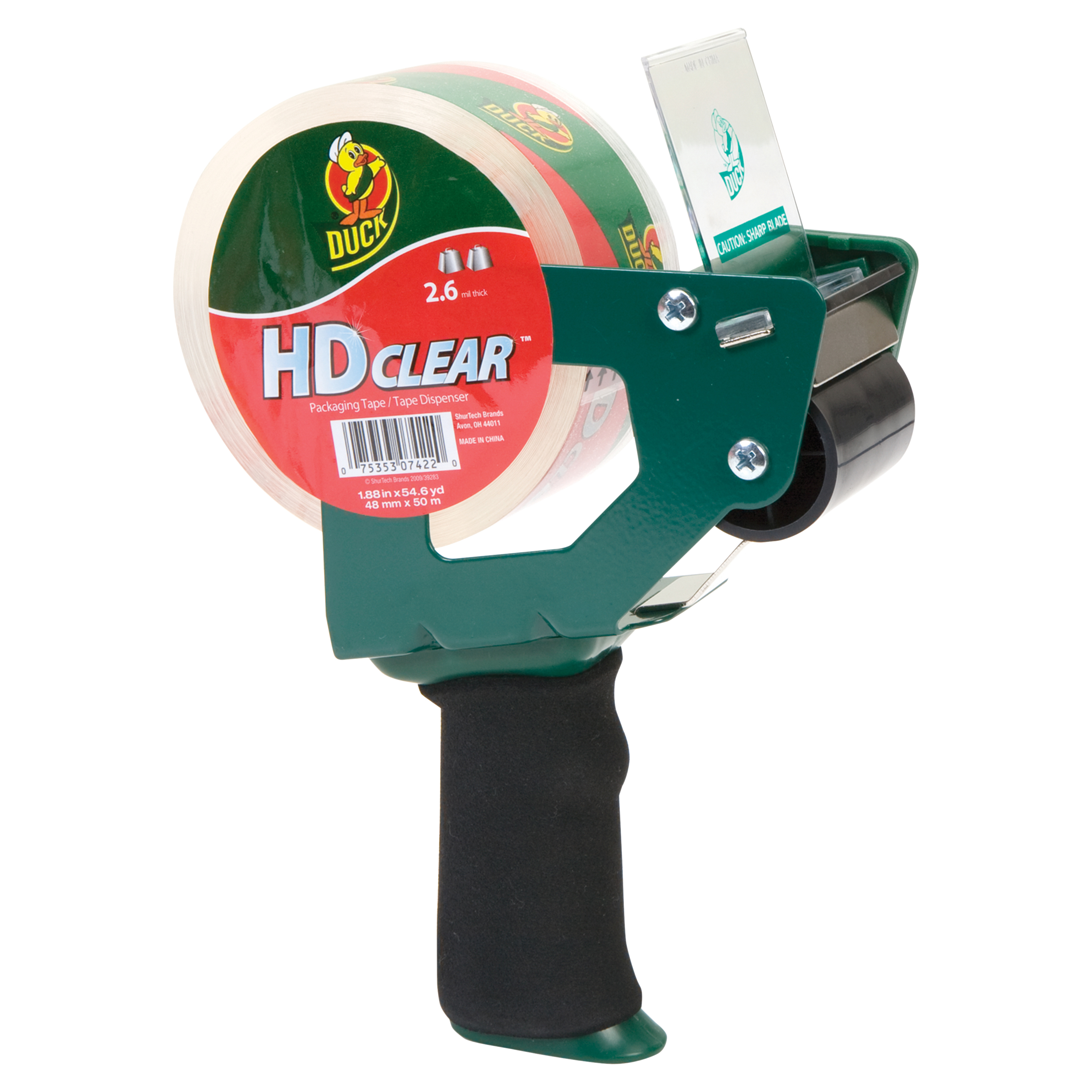 Duck HD Clear Foam Handle Tape Gun with Tape, 1.88 in. x 50 yd., 1-Count