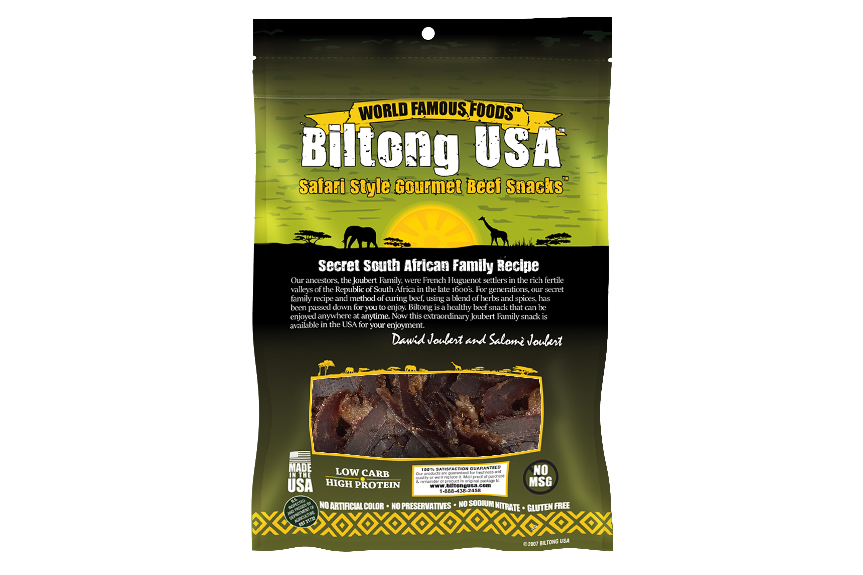 Biltong USA Grass Fed Biltong Sliced Traditional, Spicy Mild Flavor, 8oz Bag