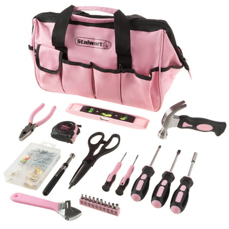 Stalwart Tool Kit - 123 Pink Heat-Treated Pieces with Carrying Bag - Essential Steel Hand Tool and Repair Set