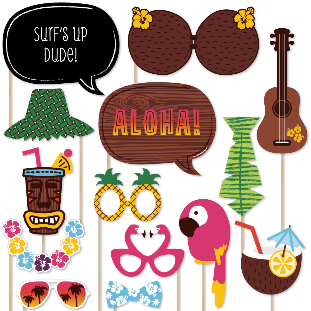 Tiki Luau - Tropical Hawaiian Summer Party Photo Booth Props Kit - 20 Count