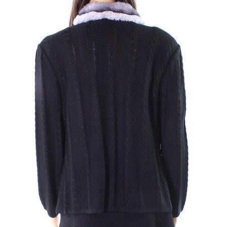 Ming Wang NEW Black Womens Size PXS Petite Faux Fur Cable Knit Jacket