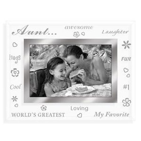 4x6 AUNT BEVELED GLASS PICTURE FRAME - TREASURES (Best Enesco Aunt Picture Frames)