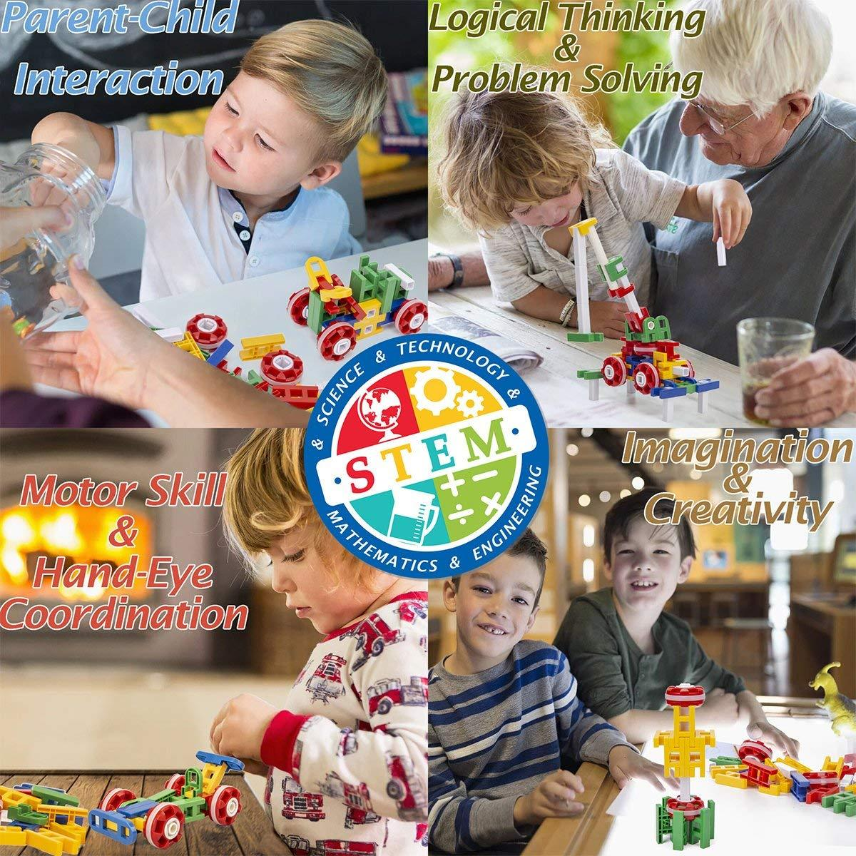 d561c7ad7bbb cossy STEM Learning Toy Engineering Construction Building Blocks 208 Pieces  Kids Educational Toy for Boys and Girls Ages 3 4 5 6 7 8 9 Year Old (208  Pcs) ...