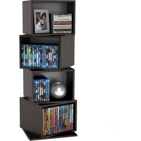 Atlantic Rotating Cube Disc Media Tower, Espresso