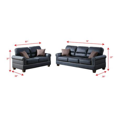 Bobkona Shelton Bonded Leather 2-Piece Sofa and Loveseat Set