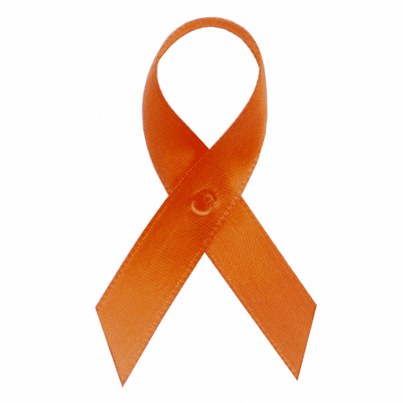 Orange Satin Awareness Ribbons - Bag of 250 Fabric Ribbons w/ Safety Pins - Sids Awareness Ribbon