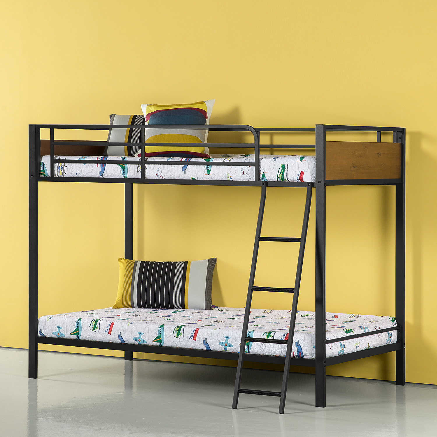 Zinus Easy Assembly Wood & Metal Bunk Bed, Twin Over Twin