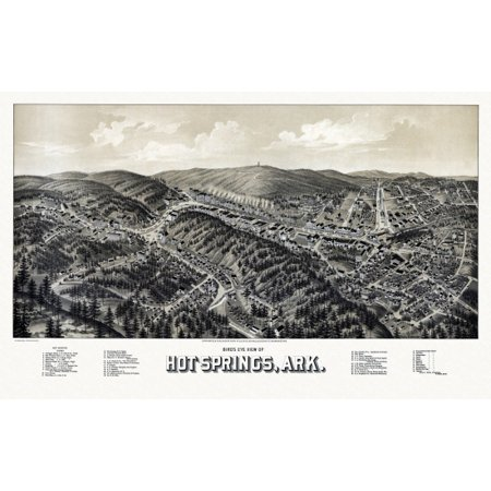 Antique Map of Hot Springs Arkansas 1888 Garland County Poster (Cool Springs Mall Map)