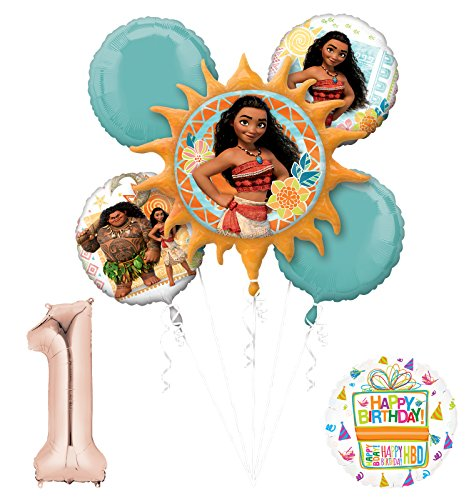 Moana 1st Birthday party Supplies and Princess Balloon Bouquet Decorations