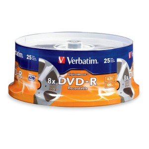 "Verbatim 4.7GB 8X DVD-R 25 Packs Cake Box High-Quality Digital Movie Disc with Unique ""Movie Reel"" Surface"