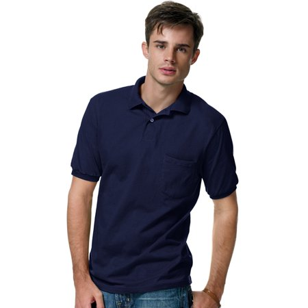 Cotton-Blend Jersey Men`s Polo with Pocket - Best-Seller, 0504, XL,