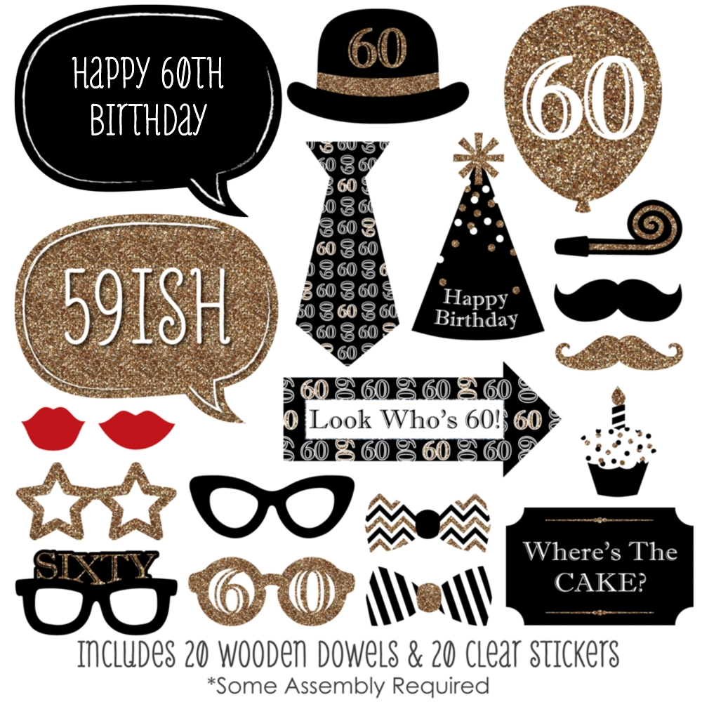 Adult 60th Birthday Gold Birthday Party Photo Booth Props Kit 20 Count Walmart Com Walmart Com