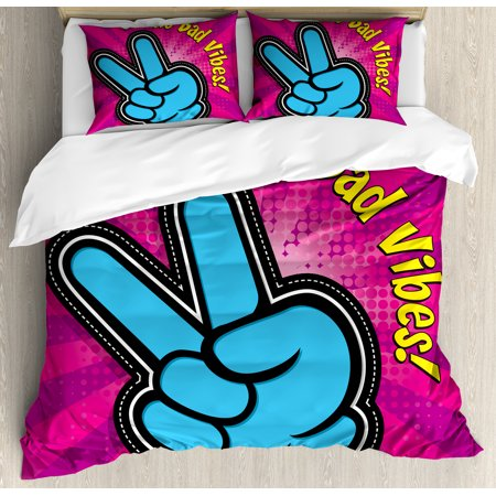 Peace Sign Boots (Good Vibes Duvet Cover Set, No Bad Vibes Theme Vintage Style Vibrant Colors with Peace Hand Sign, Decorative Bedding Set with Pillow Shams, Magenta Yellow Blue, by)