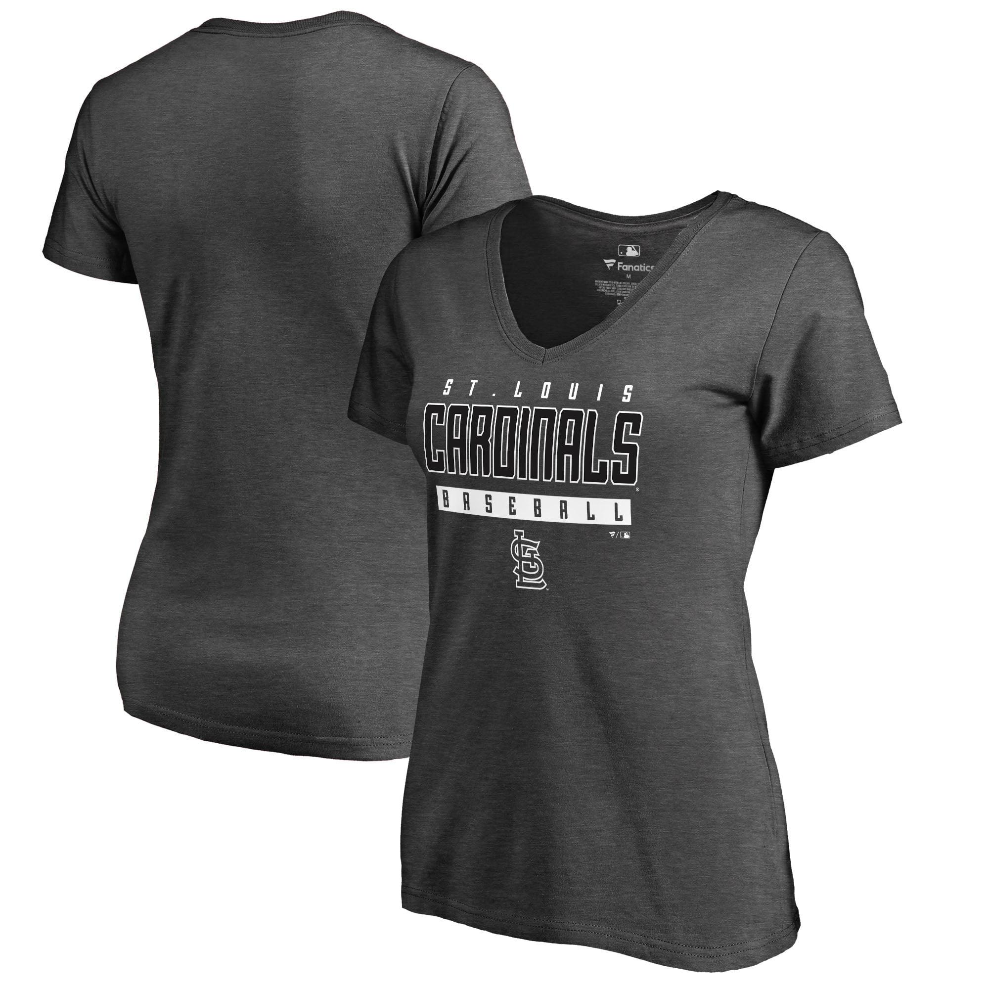 St. Louis Cardinals Fanatics Branded Women's Charcoal Stack V-Neck T-Shirt - Ash