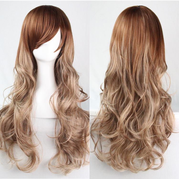 "DYMADE NEW 27""/70cm Women Flaxen Mix Blonde Long Curly Wavy Wig Cosplay Party Full Wigs"