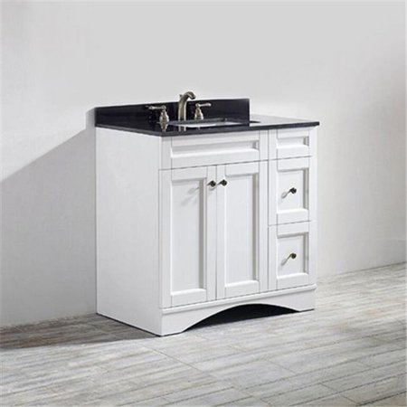 Vinnova 712036-WH-BK-NM Bologna 36 inch Vanity In White with Black Galaxy Granite Countertop without Mirror