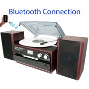 Boytone BT-24DJM Turntable with Bluetooth Connection, 3 Speed 33, 45, 78 Rpm, CD, Cassette Player AM/ FM