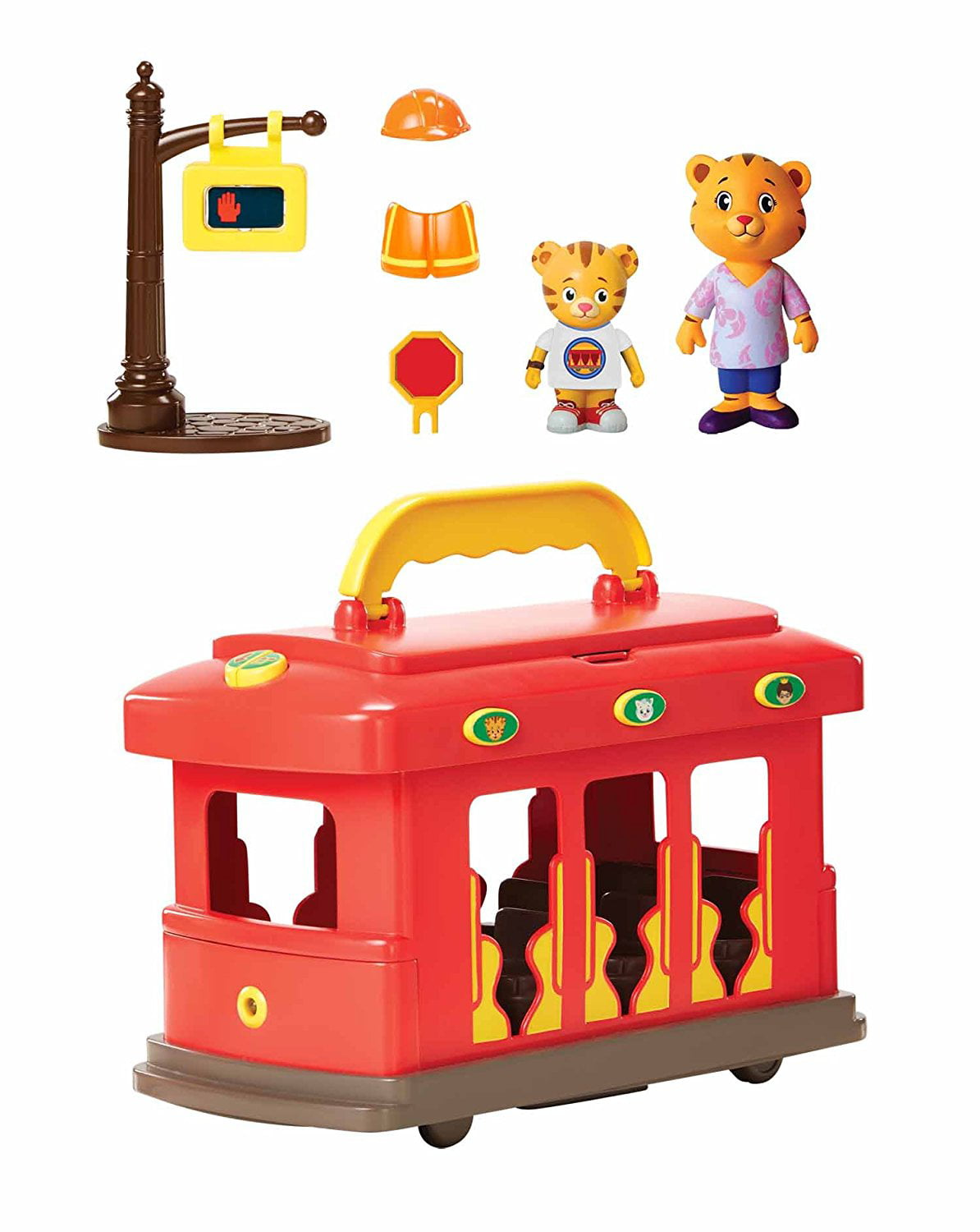 Daniel Tiger's Neighborhood-Deluxe Electronic Trolley Vehicle, Trolley comes with two figures: Mom Tiger &... by