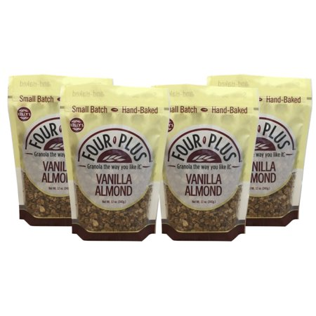 Kelly's Four Plus Vanilla Almond Granola, 12 oz, 4 count. Best Tasting All Natural Almond Granola Cereal, Healthy Crunchy Granola Breakfast Cereal. Oats, Honey Maple Syrup. The Best Granola for (Best Tasting Healthy Yogurt)