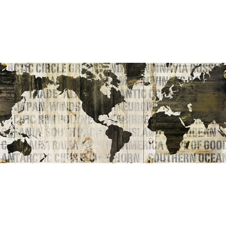 Mhp Cream (Beautiful Cream and Black Map of The World by Sue Schlabach; One 18x8in Unframed Paper Poster)