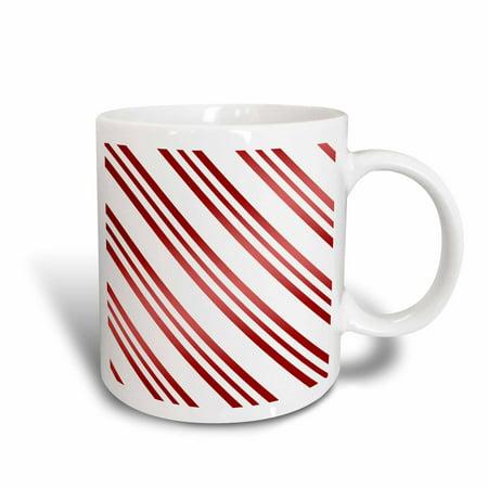Christmas Candy Cane Mug - 3dRose Christmas Candy Cane Stripe Red and White, Ceramic Mug, 11-ounce