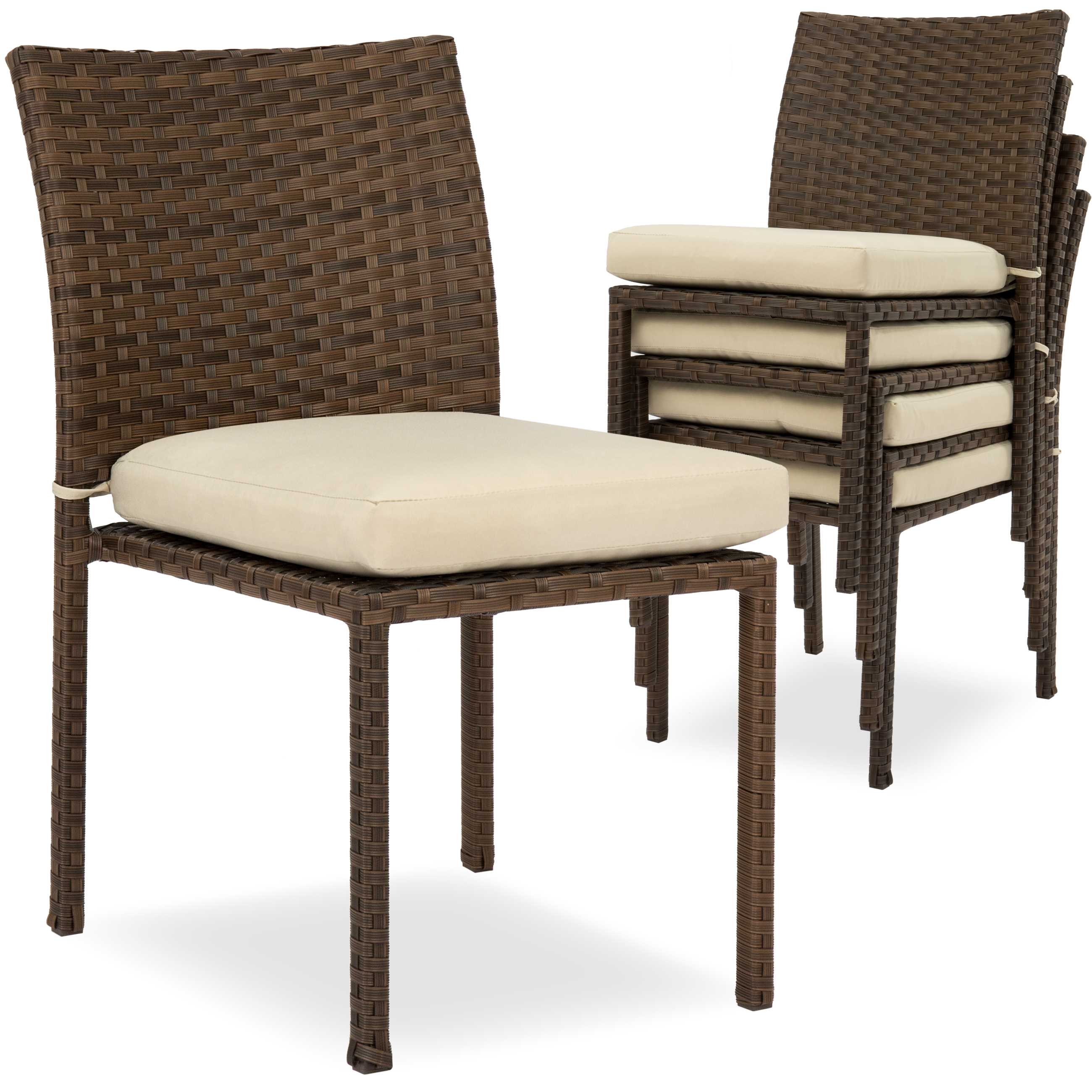 Best Choice Products Set of 4 Stackable Outdoor Patio Wicker Chairs w/ Cushions, UV-Resistant Finish, Steel Frame - Brown