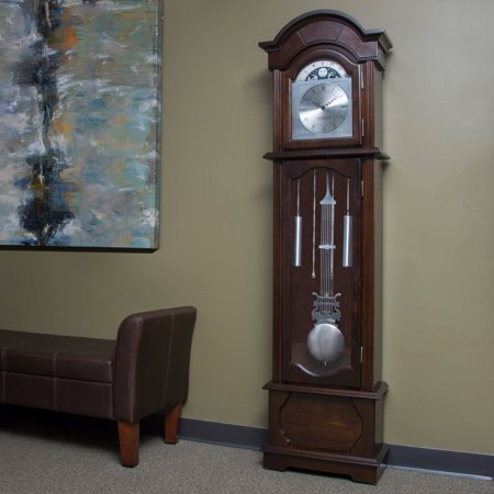 FirsTime Espresso Grandfather Clock Curio Cabinet Floor Clock