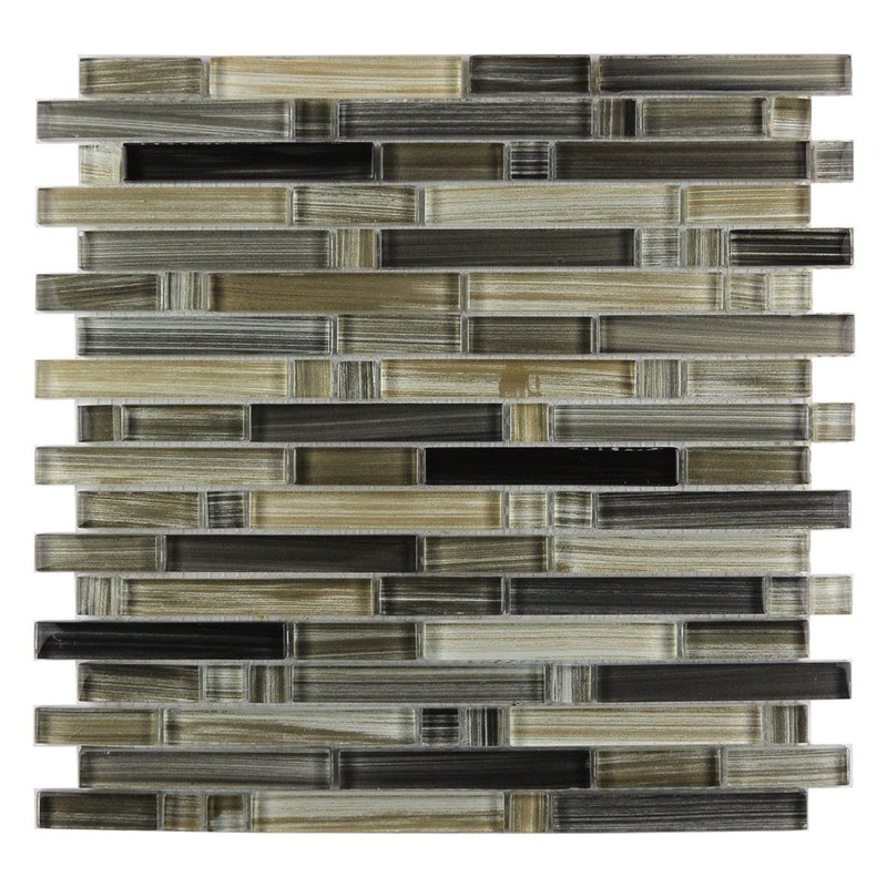Abolos- Handicraft II Random Sized Glass Mosaic Tile in Glazed Black Sea (11sqft / 11pc Box)