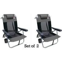 Outdoor Spectator Multi-Position Flat Folding Mesh Ultralight Beach Chair (2-Pack) - Grey