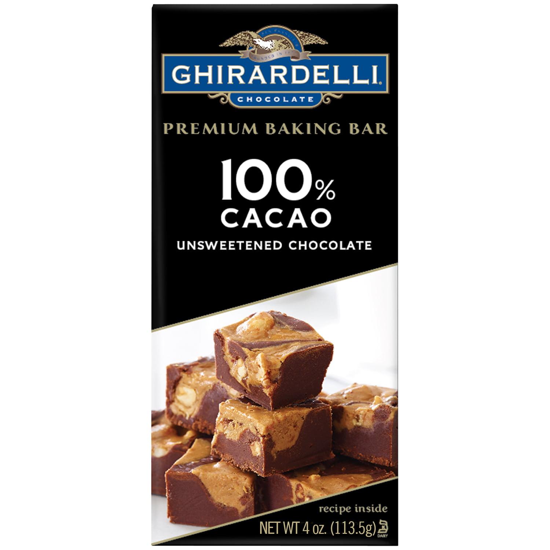 Ghirardelli 100% Cacao Unsweetened Chocolate Premium Baking Bar, 4 ...