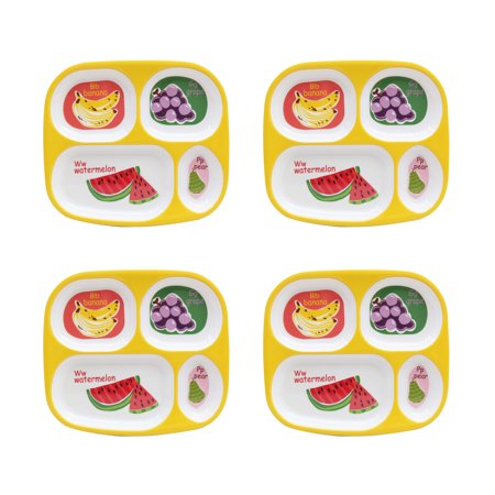 Mainstays Kids 4-Pack Melamine Divided Plates, ABC's of Health ()
