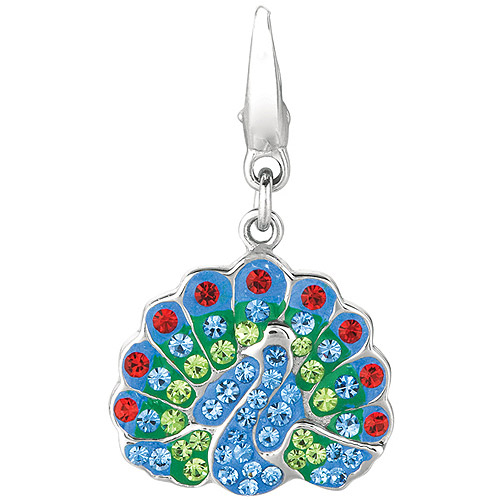 Women's Crystal Sterling Silver Peacock Clip-On Charm