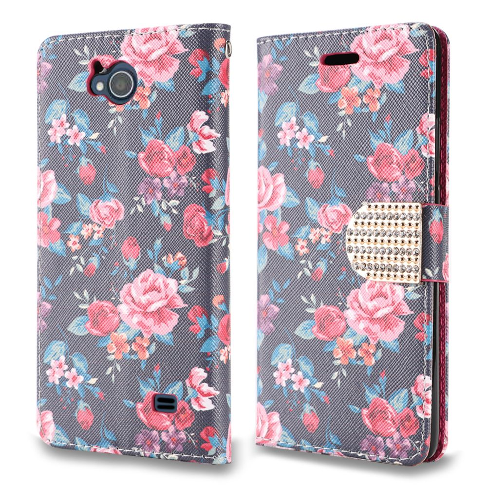 Synthetic PU Leather Wallet Carrying Case - [Pink & Red Roses] and Atom Cloth for ZTE Majesty Pro / Majestry Pro Plus