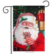 "Santa Claus Gingerbread Garden Flag Christmas Holiday Yard Banner 12"" x 18"""