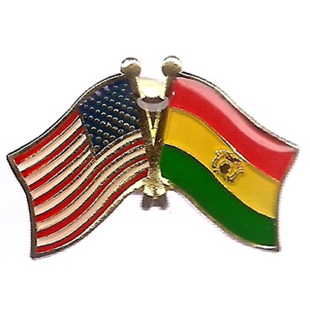 Lapel Pin Box (Box of 12 Bolivia & US Crossed Flag Lapel Pins, Bolivian & American Double Friendship Pin)