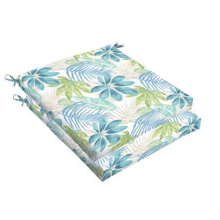Humble and Haute Humble + Haute Indoor/ Outdoor Blue/ Green Tropical Chair Cushion, Set of 2 19 in w x 19 in d ()
