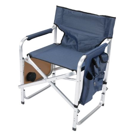 Faulkner Aluminum Director Chair with Folding Tray and Cup Holder, Blue - Cheap Directors Chairs