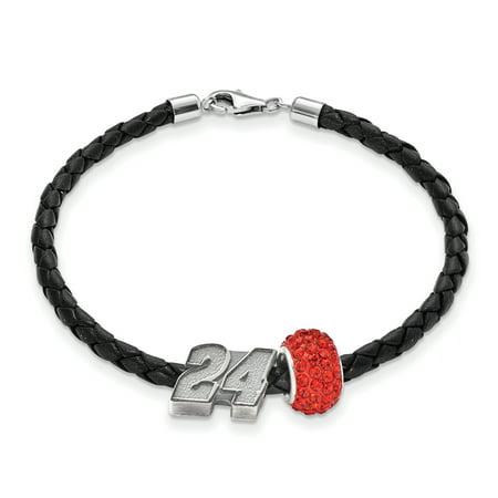 Sterling Silver Antiqued LogoArt NASCAR #24 William Byron Crystal Leather Bracelet