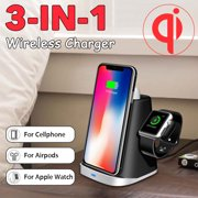3-In-1 Qi Wireless Fast Charger Dock Charging Station Pad Stand Holder For Samsung Iphone forAirpods Apple Watch