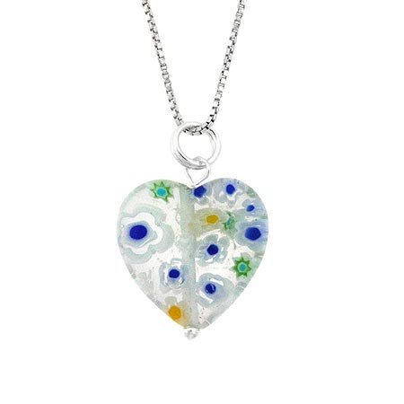 Murano Millefiori Flower Ring - Summer Murano Glass Sterling Silver Bead Spring Green Millefiori Flower Heart Pendant