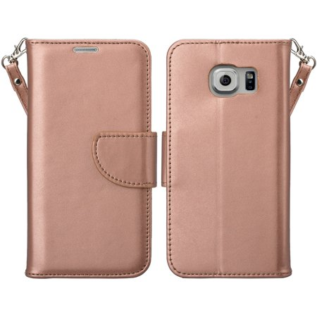 Leather Stand - Samsung Galaxy S7 Wallet Case, Wrist Strap Magnetic Flip Folio [Kickstand Feature] Pu Leather Wallet Case with ID & Credit Card Slot For Galaxy S7 - Rose Gold