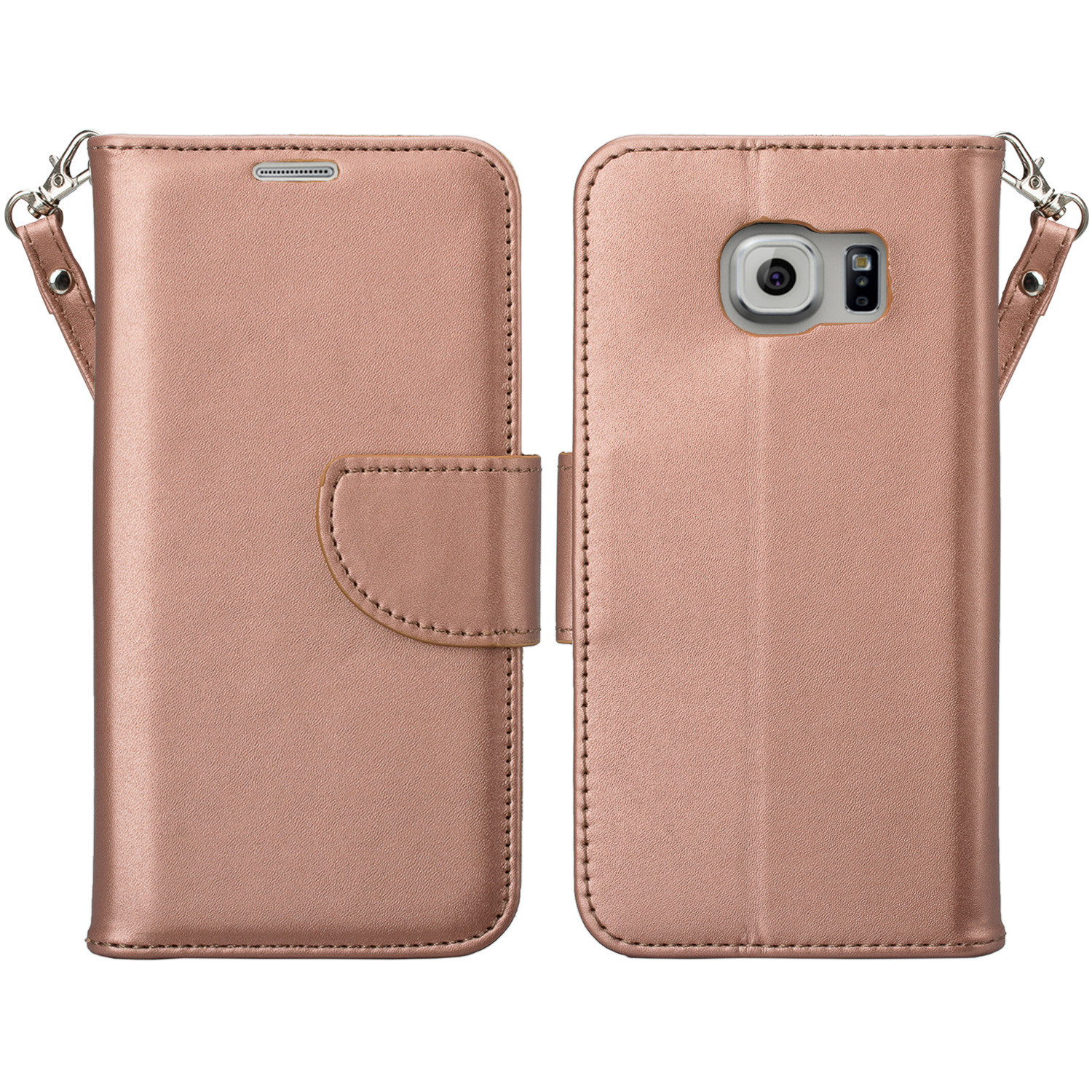 Samsung Galaxy S7 Wallet Case, Wrist Strap Magnetic Flip Folio [Kickstand Feature] Pu Leather Wallet Case with ID & Credit Card Slot For Galaxy S7 - Rose Gold