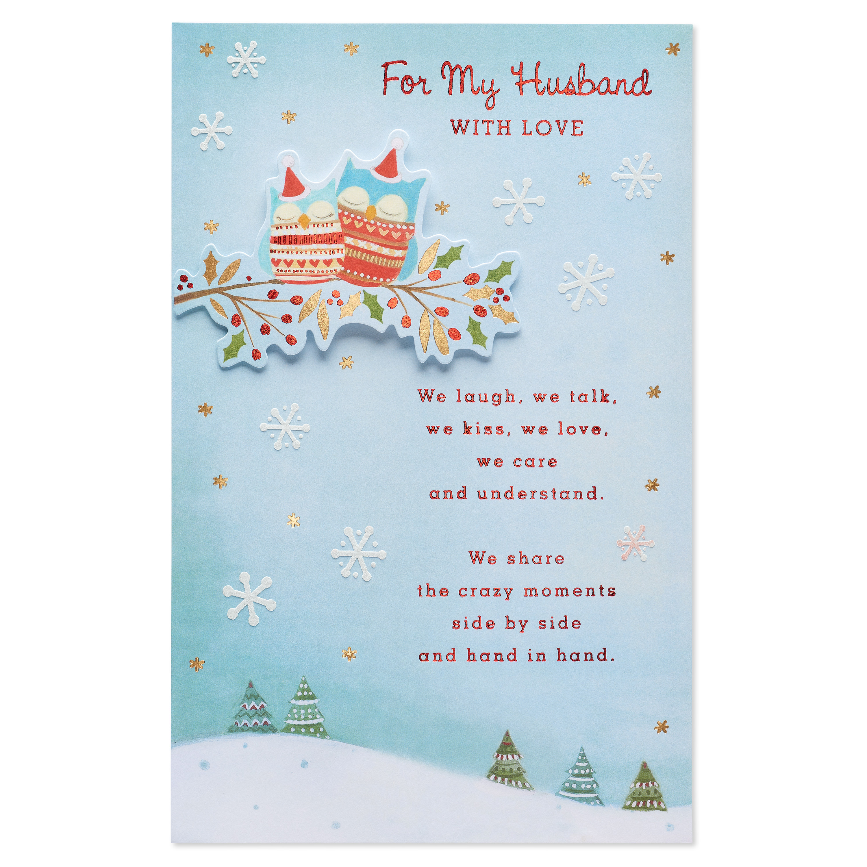 AMERICAN GREETINGS® Owls Christmas Card for Husband with Foil