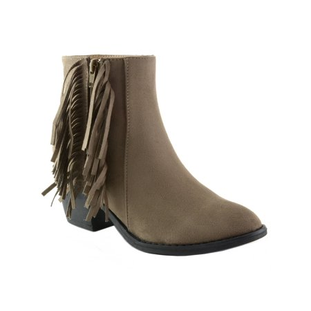 Alpine Swiss Arosa Womens Ankle Boots Fringe Shoes Block High Heel Micro Suede